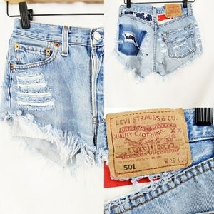 LEVI's 501 Denim Cut Off Shorts American Flag